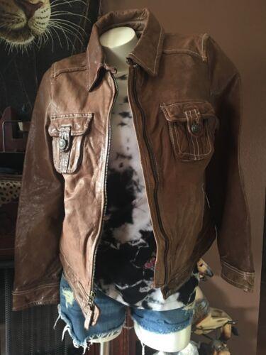motociclista ~~ in Caramel pelle da giacca Giacca Aeropostale Xl Taglia Color 8EwgqxZnx
