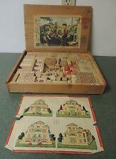 Antique Vintage Wood House Building Block Set in Original Case Children #2