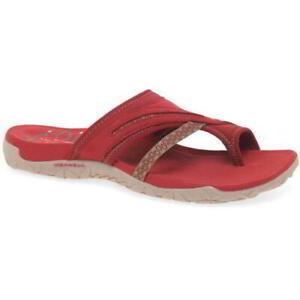 Merrell-Terran-Post-II-Womens-Ladies-Toe-Post-Leather-Walking-Sandals-Red-4-8