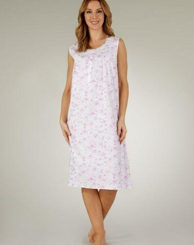 Femmes 100/% Coton Motif Floral Sans Manches Chemise de nuit par Slenderella ND3205