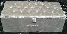 X Large 102 cm Crushed Velvet Ottoman Toy/Storage/Blanket Box Buttons or Diamond