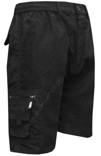 6XL New Mens Elasticated Waist Cargo Combat Plain Shorts 6 Pocket Zip Fly M