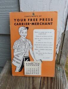 1955 Burlington Vermont Free Press News Paper Boy Calendar