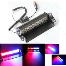 8-LED Red/Blue Car Police Strobe Flash Light Dash Emergency 3 Flashing Light B&R