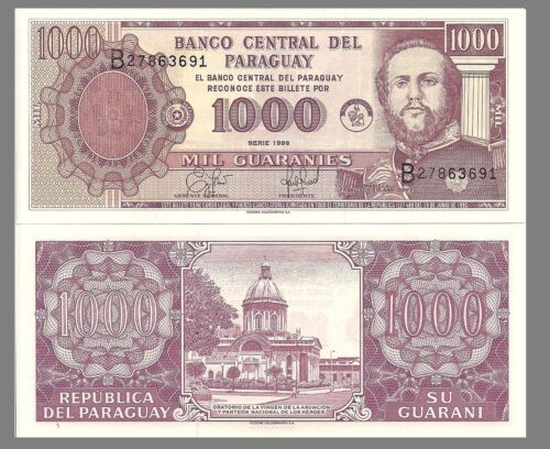 Paraguay P214 Marshal Lopez 1000 Guarani National Pantheon UNC $10 Cat Val!