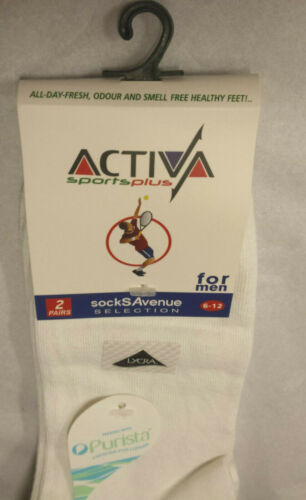 Activa Sports Plus Socks Size 6-12 UK Treated with Purista 2 Pair Pack.