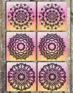 Black Mandalas Drink Coasters Set Of 6 Non Slip Neoprene Barware Gift Ideas