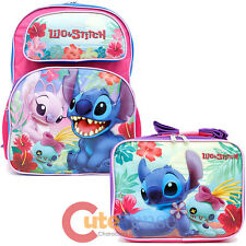 Disney Lilo and Stitch Large School Backpack Insulated Lunch Bag 2pc Set -Beach