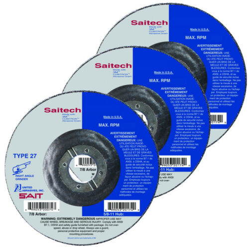 Saitech Ultimate Performance Ceramic Abrasive 4-1//2 Grinding Wheel Type 27 QTY10