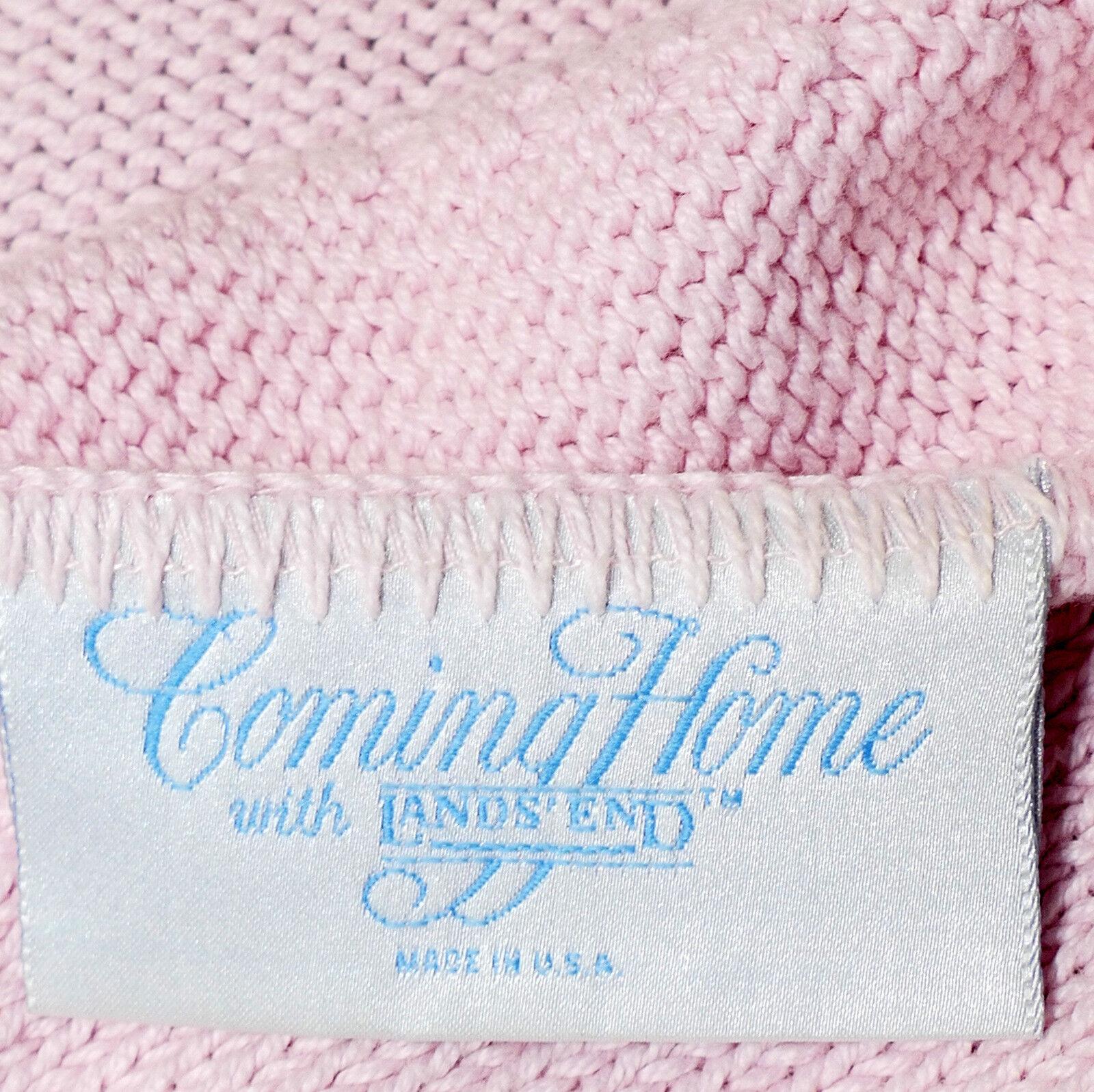 Linens BLANKET Afghan Throw LANDS' END 100% Cotton Fringe Pink Large Pink 58x64