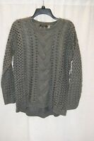 Women's Fylo Knit Long Sleeve Open Stich Sweater Gray Or Orange S Or Xl