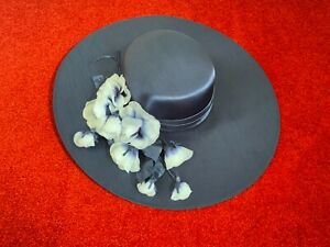 KANGOL Wide Brim Wedding Hat Ascot Formal Occasion Navy Orchid Style Floral