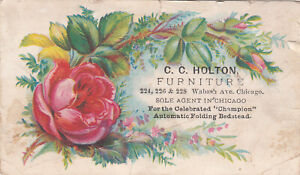 C C Holton Furniture Chicago Champion Folding Bed Pink Rose Vict Card c1880s