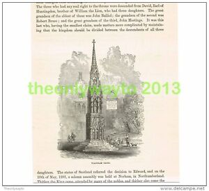 WALTHAM-CROSS-HERTS-ENGLAND-Book-Illustration-Print-c1870