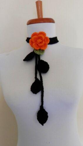 Crochet Orange  Rose Lariat Scarf  Scarflette Necklace   HALLOWEEN  WOMEN GIRL