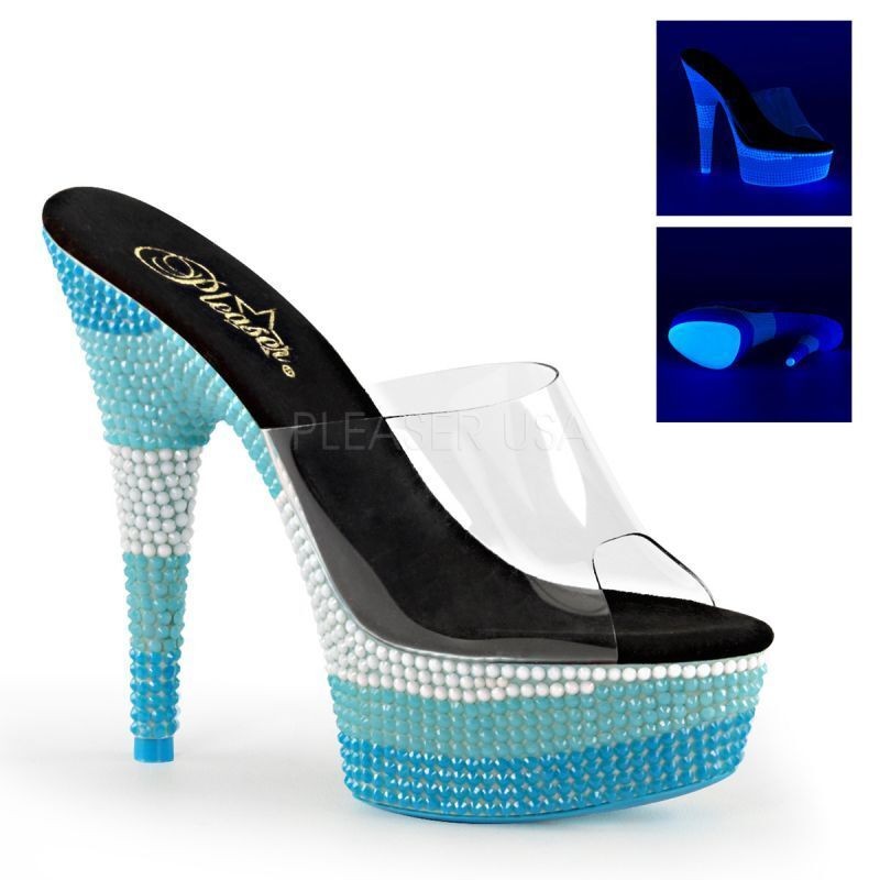 PLEASER DELIGHT-601UVS meseta mulas azultˆne UV Tabledance Klar Tabledance UV Poledance 26f349