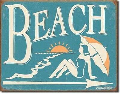 Beach sunset girl arrow TIN SIGN rustic metal home bar nautical wall decor 1176