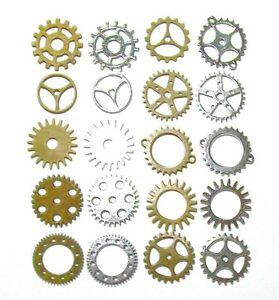 gears cogs 1 inch antiqued brass silver steampunk cosplay altered
