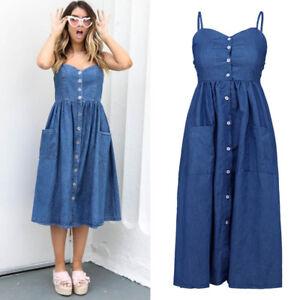 Women-039-s-Blue-Jeans-Denim-Maxi-Short-Dress-Ladies-Casual-Beach-Dresses-Sundress