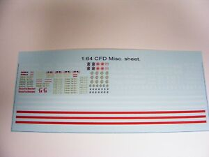 Chicago-Fire-Dept-1-64-Water-Slide-Decals-4-Customs-and-kit-Bash-w-Red-Stripes