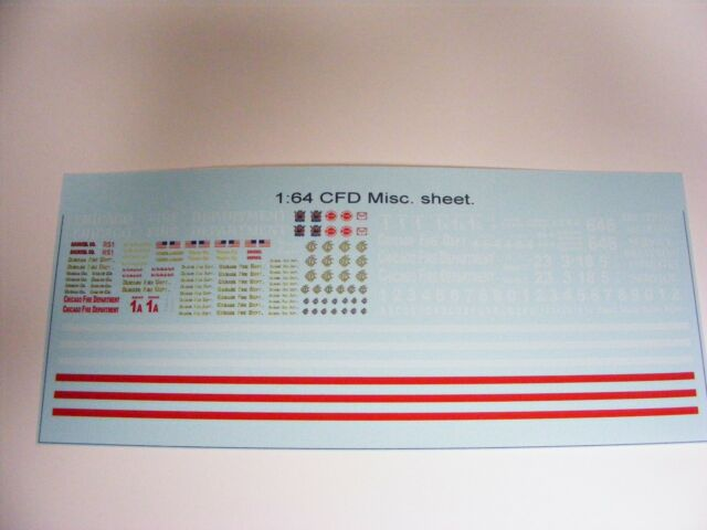 Chicago Fire Dept 1/64 Water Slide Decals 4 Customs and kit Bash w/ Red Stripes