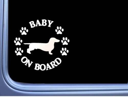 """Baby on Board Dachshund Smooth L511 6/"""" Sticker dog decal"""
