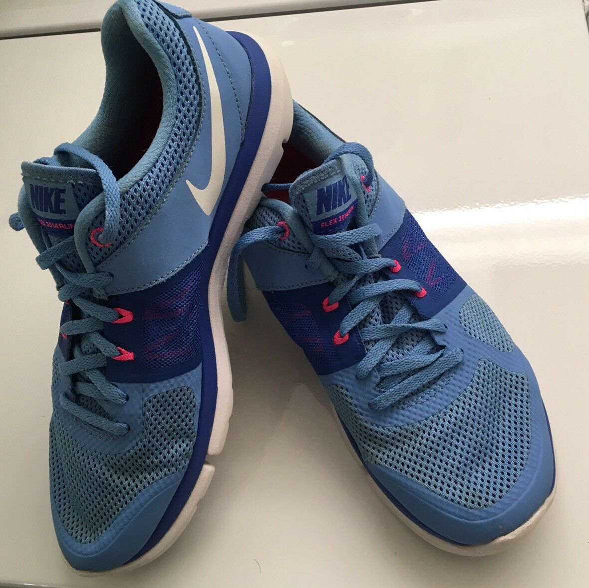 NIKE Flex 2014 Run Women US 10 Blue + White Athletic Running Trainers Shoes