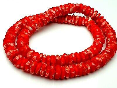 Strang recycled Krobo trade beads discus bunte Glasperlen Ghana