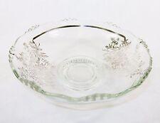 "11"" Silver Overlay Glass Bowl ~ Hobnail Base & Raised Bubble Rim, Floral Pattern"