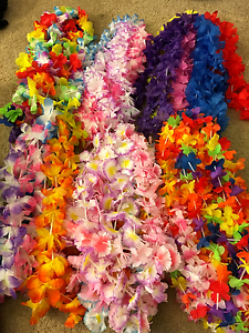 hawaiian luau flower plastic leis favor party supplies decorations