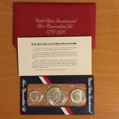 1976-S UNITED STATES 40/% SILVER BICENTENNIAL EISENHOWER 3 COIN PROOF SET