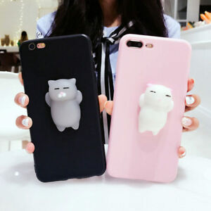 hot sale online c268e 728a8 Details about Cute Squishy 3D Lazy Kitty Cat Soft TPU Phone Case Cover For  iPhone 6 6s 7 Plus