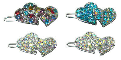 1 ea of 4 Colors Snap Hair Clip U1930 Set of 4 Small Twin Heart Barrettes