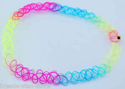 Bright Rainbow Vintage Stretch Tattoo Choker Necklace Retro Gothic Punk style