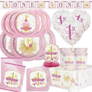 FIRST-1st-BIRTHDAY-GIRL-PINK-amp-GOLD-Party-Tableware-Range-Balloons-amp-Decorations