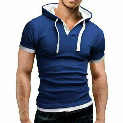 Men/'s T-shirt Slim Hoodies Muscle Tee Short Fit Sleeve Tops Shirts Casual Hooded