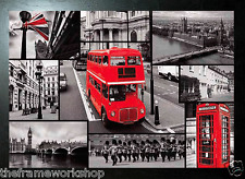 BLACK FRAMED LONDON RED BUS AND SIGHTS - 3D MOVING PICTURE POSTER 465mm x 365mm