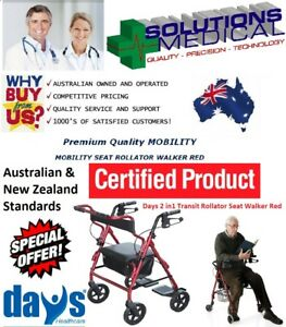 DAYS-2-in1-TRANSIT-ROLLATOR-SEAT-WALKER-amp-TRANSPORT-CHAIR-RED-160KG-CAPACITY