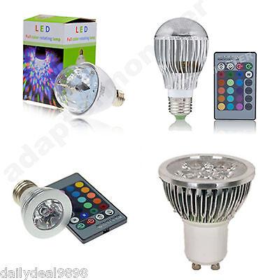 E27 GU10 3W 4W 9W RGB LED Color Change Lamp Stage Rotating Light Remote Control