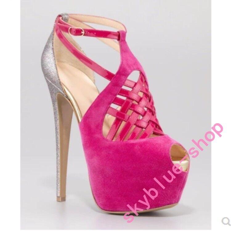 2018 Sexy Ladies Peep Toe Ankle Strap Platform High Heel Sandals Shoes Large Sz