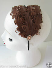 Brown Feather Headpiece Vintage 1920s Flapper Gold Headband Tan Great Gatsby L27
