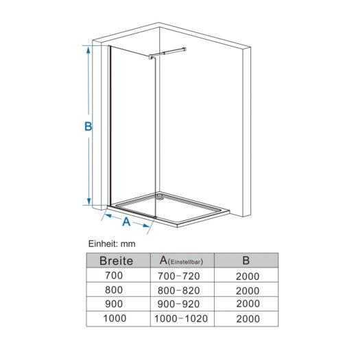 Walk in Dusche Duschabtrennung Duschwand Duschkabine 10mm Nano Glas 80 x 200cm A