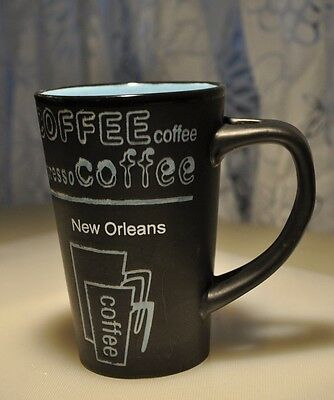 Coffee Cup New Orleans Black and Turquoise stonewere