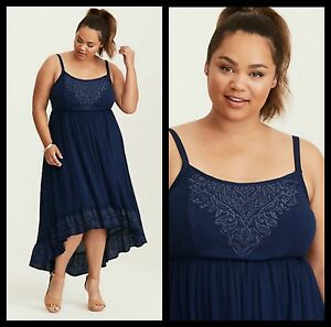 Torrid Womens Plus Size 2 2X Hi-Lo Maxi Dress Navy Embroidered Gauze ...