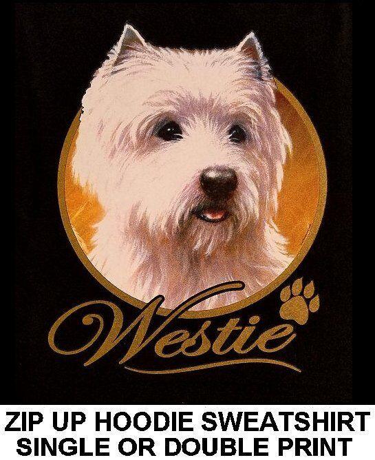 VERY CLASSY COOL WESTIE DOG ART WITH GOLD LETTERING ZIP HOODIE SWEATSHIRT WS705