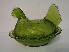Collectible Vintage Indiana Glass Green Sitting Hen Chicken Covered Dish Bowl