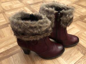 Details zu Tamaris Stiefeletten High Heels 36 Bordeaux Weinrot Fake Fur Kunstfell X Mas