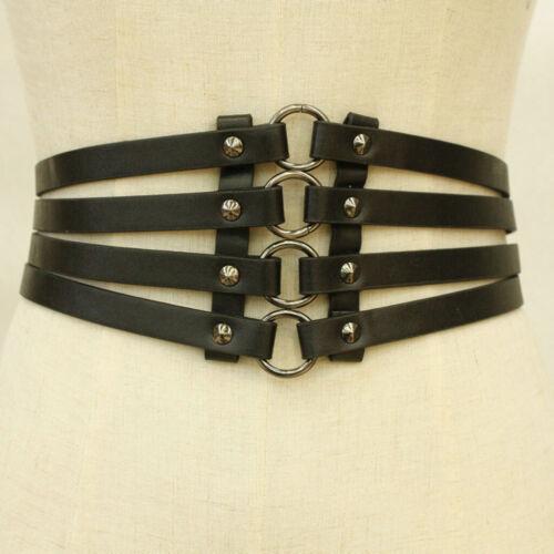 Gothic Punk Breit Gürtel Korsett Nieten Taillengürtel Hüftgürtel Ledergürte