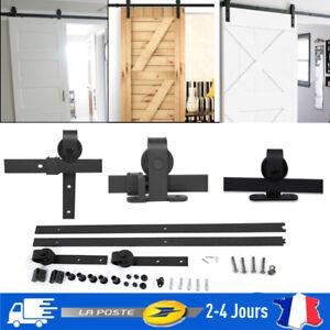 6/6.6Ft Rail Porte Coulissante Quincaillerie De Grange Kit Roller Portes bois