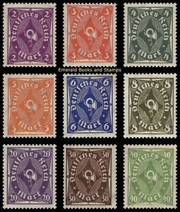 EBS Germany 1922 - Posthorn Definitives (II) - Michel 224-232 MNH** cv $12